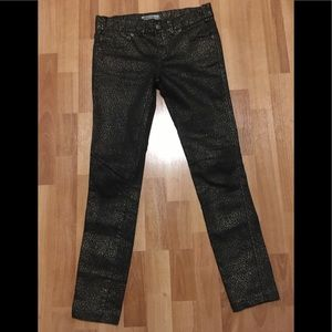 Free People Gold Animal Foil Jeans in Size 25